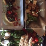 crab cakes, cheese, salad