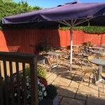 Our Patio Seating Area, a lovely sheltered sunny spot on a nice day!
