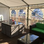 The Decking Seating Area is covered with a heated Marquee