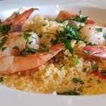 shrimp and couscous at Soby's