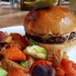 Burger and roasted veggies at Nose Dive