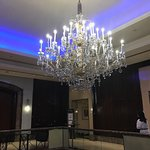 One of several lovely chandeliers in the lobby and outside the breakfast room