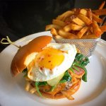 All Day Brekafast Burger: beef patty, bacon, cheese, potato hashbrowns topped with a fried egg