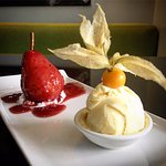 Cranberry Poached Pear: Served with french vanilla ice cream