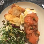 Lunch at the pool bar, delicious smoked salmon, avocado and poached egg on toast with homemade c