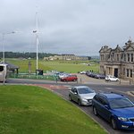Looking at first tee box of The Old Course at St. Andrews from the front of Best Western Scores