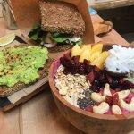 smoothie bowl - avocado snack - sandwich
