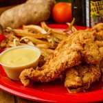house battered chicken tenders with fresh cut fries