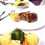 Roast beef, side of vegetables at wedding