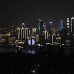 Beautiful view of illuminated high rise buildings along the Yangtze river