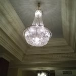 One of six chandeliers in the reception area