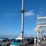 View of the British Airways i360 from near the hotel entrance
