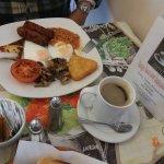 Vegetarian breakfast in Claudio's - veggie sausages reported to be very tasty.