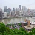 Pittsburgh cityscape on a rainy day.