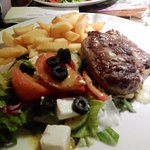 Sirloin Steak mixed salad french fries