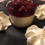 White chocolate dessert with raspberries
