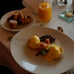 Scrumptious Breakfast including Lobster Benedict & pumpkin muffin at Natalie's