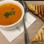 Amazing Edible Matters cream of tomato soup and grilled cheese.