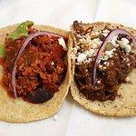 tasty chirizo taco and mole taco