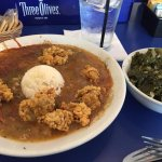 Gumbo with fried oysters and mustard greens