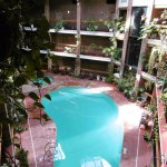 View of the swimming pool area from the top.