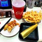 Shrimp tempura, pineapple, and cheese fries