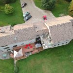 Aerial view of back of B&B. Lots of parking !
