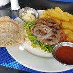 Alpaca burger with fries