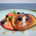 Fluffy blueberry pancakes from our breakfast menu