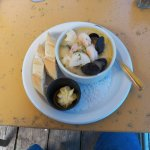 Shrimp, scallops and mussels. Outstandong! Only thing missing was a blue pearl!
