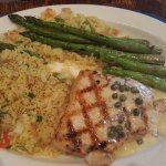 Swordfish, with a delicious sauce.