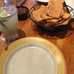 Chips, salsa, and margarita