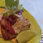 Local crab on toast with grilled pancetta and apple