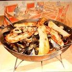 Bucintoro (seafood dish over spaghetti)