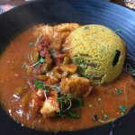 Monk fish & Prawns in a Mediterranean sauce with Cous Cous , absolutely devine , second visit he