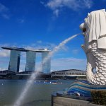 View of Marina Bay with merlion
