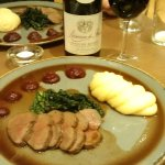 The venison and a nice bottle of Cotes du Rhone