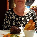 A wonderful fillet steak and vegetables with some chunky chip potatoes.   It's delicious.. see e