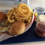 Clams, rings, slaw and fries. Good!