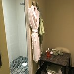 Walk-in shower in the Badiane room