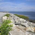 Part of the park walk along the water overlooking Narragansett Bay.