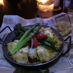 Vegetable paella. Asparagus, artichokes, mushrooms, and more.