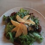 Salad with apple and candied walnuts. Steak with rice and veggies absolutely delicious