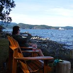 Happy hour at Taku, watching the Cortez ferry coming back to Quadra