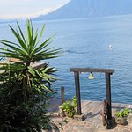 From my balcony - Laguna Lodge dock, Lake Atitlan 3 volcanoes can be seen.