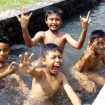 Balinese kids on a bath