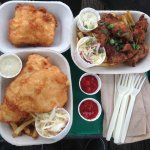 good portions and super tasty! Halibut (3 pieces) and fried oysters