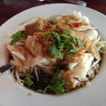 Guay Tiew Lod (prawns, chicken, & tofu with wide rice noodles)