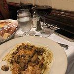 Chicken marsala over pasta