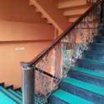 vintage staircase leading to the pool